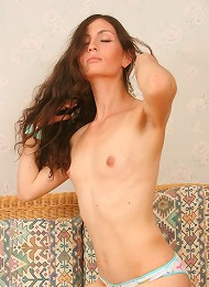 Lovely Longhaired First-timer Alexa Posing In Sexy Bikini And Getting Naked On A Couch. Teen Porn Pix