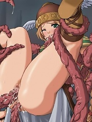 Hentai Brunette with juicy juggs deepthroats