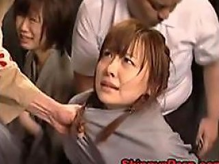 BravoTube Video - Bound Japanese Babe Gets Her Hairy Pussy Fisted By Cruel Prison Guards