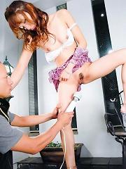 Aya Sakuraba and her boyfriend take turns toying her pussy
