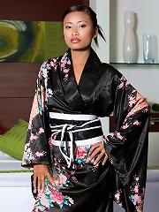 Tiny Thai Teen girl poses in Japanase robe