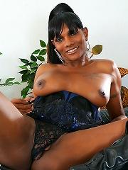 Fine black tgirl bares her cock