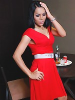 Lovely ladyboy in red dress shows shecock