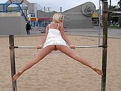 California blond exposed in public areas
