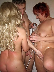 Horny mature sluts sharing one cock at this party
