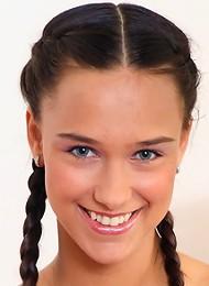Playful brunette gal