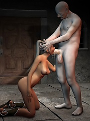 Lesbian fucked between her juggs by Goblin