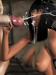 Insane 3D Whore strokes 3D Sex expert then gets slammed