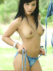 Cutie Lucy Sun Strips Denim Bikini Outdoors
