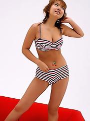 Sayaka Uchida cute Asian model has big sexy tits in her bikini