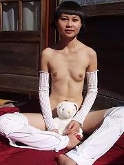 Skinny malaysian girl angel flexes her nude body